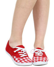 Wild Diva Marsden-98 Gingham Plaid Cap Toe Classic Lace Up Sneaker, Red, US 7.5