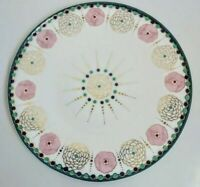 Anthropologie Mid Century Modern Floral Star Gold Dinner Plate 11""