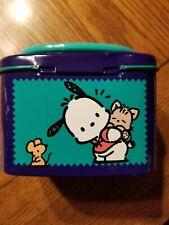 1996 Vintage Sanrio Pochacco Street Dog Collectible Purple Tin Box Case w Handle