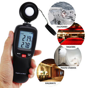 Illuminance Light Meter Luminometer Temperature Tester Data Storage 200,000 Lux