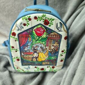 Loungefly Disney Beauty &the Beast Stain Glass The Enchanted Rose Backpack NWT