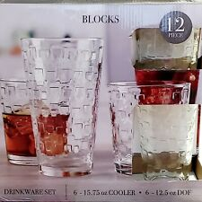 Circleware Glass Drinkware Set 12piece  Blocks NIB