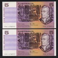 Australia R-207. (1979) 5 Dollars.. Knight/Stone..  UNC - CONSECUTIVE Pair
