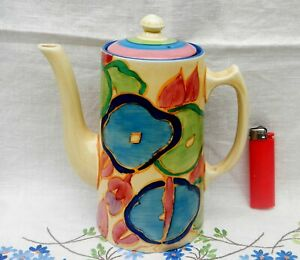 Clarice Cliff Fantasque Bizarre Coffee Pot with lid early 1930's.