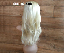 Light Blonde Mix 3/4 Fall Hairpiece Long Layers Straight Half Wig 015-613