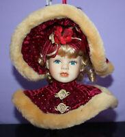 Porcelain Doll Head Hanging Ornament ~ Blonde Hair Blue Eyes ~ Dandee Int'l