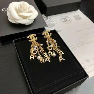 Chanel Gold CC Crystal Chain Pearl Dangle Hoop Piercing Earrings