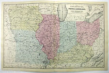 Original 1871 Map of Midwestern USA b/w MI WI NE MN & Dakota's by AJ Mitchell