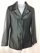 Wilsons Womens Black Leather Jacket Blazer Size Small Career Dress Fully Lined
