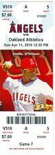 2010 Angels vs Oakland A's Ticket: Adam Rosales, Bobby Abreu & Juan Rivea homers
