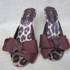 """JOAN & DAVID"" Slip-on Pump Grosgrain Brown Ribbon Bow Animal Print Heel 8.5Med"
