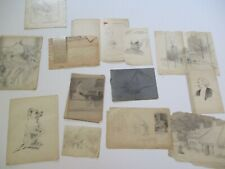 ORLANDO ROULAND DRAWING ANTIQUE EARLY AMERICAN PORTRAIT  COLLECTION LOT RARE ART