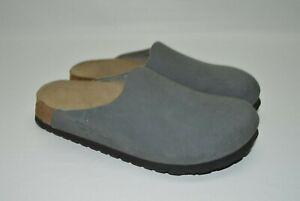 Birkenstock Birki's Amsterdam Gray Leather Mules Clogs Comfort Shoes 36 US 5