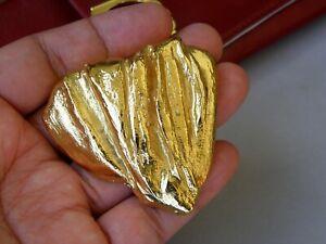 Christian Lacroix Vintage Large Golden Brooch Heart Form