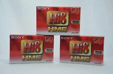 3x Sony E5-120HME3 120 PAL Hi8 & NUMÉRIQUE 8 Vidéo Caméscope Cassettes cassettes NEUF