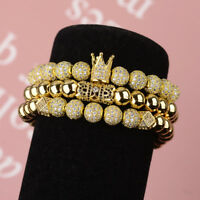 Luxury Men's Micro Pave CZ Ball Crown Braided Adjustable Women Bracelets Gifts