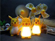 New Cartoon Lovely Pikachu USB Rechargable Desk Table Lamp Night Light Mini Fan