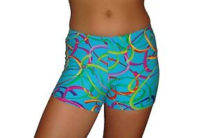 Red Monkey Gear spandex shorts turquoise confetti