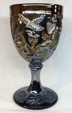Fenton art glass Amethyst Carnival Goblet with inverted strawberries