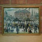 Framed Vintage Cross Stitch Picture - Market Scene / Lowry - 52x40cm