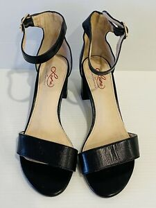 Leona Edmiston Size 37 AU 6 Black Leather Open Strappy Block Heels Summer Shoes