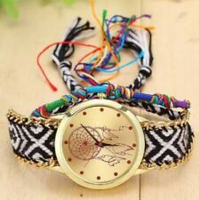 Dreamcatcher Friendship Watch Gold Face Gold Chain Black White Handwoven Band