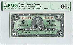 CANADA 1 Dollar 1937, BC-21d Bank of Canada, PMG 64 EPQ Choice UNC