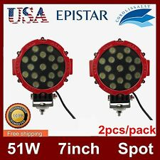 Pair 7inch 51W Led Round Spot Driving Light Offroad 4×4 Atv Boat Truck Work Lamp