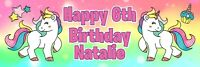 """36"""" x 12"""" PERSONALIZED UNICORN BIRTHDAY PARTY BANNER DECORATIONS SUPPLIES PONY"""