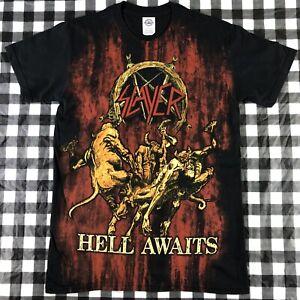 Slayer Hell Awaits All Over Print Heavy Metal Rock Band Black T shirt S