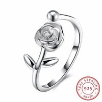 925 Sterling Silver Solid Rose Flower Wedding Engagement Band Ring Adjustable