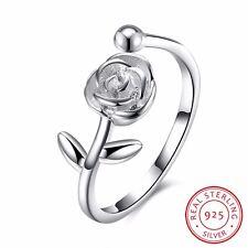 925 Sterling Silver Solid Rose Flower Wedding Engagement Band Ring Adjustable