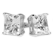 3 Ct Princess Cut Diamond Earrings in Solid 18k White Gold Screw Back Studs