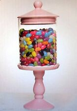 NEW Modern Decorative 1.5L PINK CERAMIC & GLASS LOLLY JAR Boxed Pedestal Design