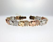 "Genuine 2.04ctw Diamond Emerald Solid 14k Tri Color Gold Elephant 6.75"" Bracelet"