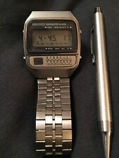 Vintage Seiko C359-5019 Stainless Steel Case Calculator Alarm Watch