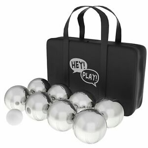 Petanque Boules Set for Bocce Ball 8 Steel Tossing Balls in Case Backyard Game