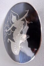 NIELLO SIAM STERLING SILVER BROOCH ROYAL DANCER  BLACK NIELLO 5.4CM 12.48G OVAL