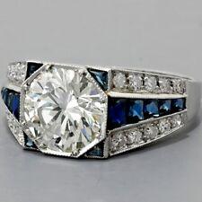 2.70CT Round Moissanite & Blue Sapphire Men's 925 Silver Engagement Wedding Ring