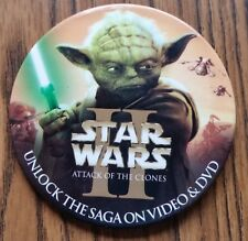 Star Wars Ii Move Dvd Promotional Button Attack of the Clones Yoda Light Saber
