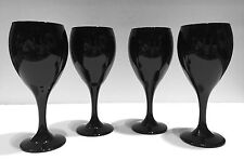 Libbey Premier Rock sharpe Stemware Black Amethyst Wine Glass Goblet Set of 4
