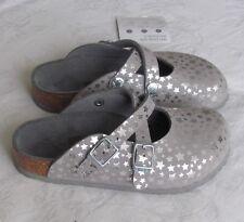 NEW Birkenstock Girls Childs SIlver Star Mules Clogs Sandals UK Size 11.5 EU 30