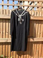 LOUIS FERAUD Black crepe Dress UK 16 Mid Calf Length Classic Wardrobe Staple