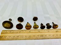 Lot of 9 drawer cabinet knobs Brass finish Antique Salvage pulls round sm/med