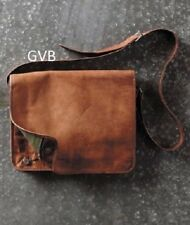 Men's Rare Goat Leather Vintage Laptop Messenger Handmade Briefcase Bag Satchel