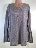 NEXT beige brown stripe burnout knit cotton mix jumper PLUS SIZE 22 euro 50