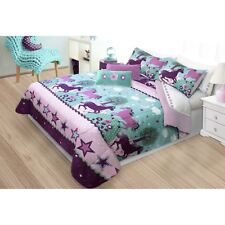 Unicorn Bedding Set For Girls Teen Full Queen Horse Comforter Sham Reversible 3p