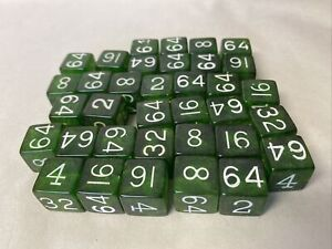 Lot of 35 Clear Green Bakelite Backgammon Doubling Dice 11/16""