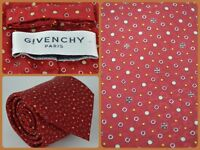 Givenchy Paris Red Polka Dot Logo All Over Print Luxury Neck Tie Silk ITALY 61""