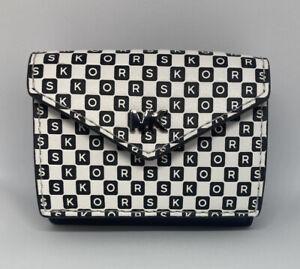 New Michael Michael Kors Trifold Wallet Envelope Black & White Checkered Logo